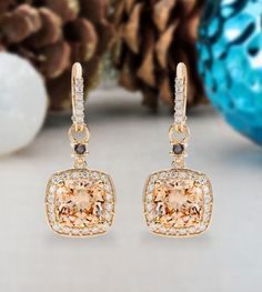 Fall in love with these dazzling 17.60ctw Champagne, Mocha & White Diamond Simulant earrings! They're the only statement piece you'll need for the holiday season! We're in awe of the festive glow of the champagne stones. [Promotional Pin]