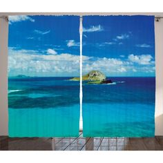 Tropical  Curtains 2 Panels Set, Manana Island Hawaii Cloudy Summer Sky Tropical Climate Beach Theme Picture, Living Room Bedroom Decor, Blue Turquoise, by Ambesonne