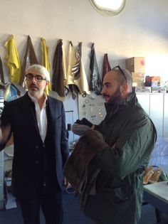 @G Halaby in the Accessories Lab of Accademia Costume & Moda with General Manager Lupo Lanzara