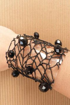 bracelets : Bracelet with lace and crystals