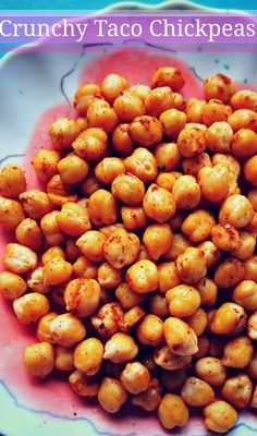 TACO GARBANZOS  1 Can Drained and Rinsed Garbanzos  1/4 Tsp Black Pepper  1 Tsp Olive Oil  Taco Seasoning ( 2 Tsp Chili Powder, 1 Tsp Paprika, 1 Tsp Cumin, 1/2 Tsp Onion powder, 1/2 tsp garlic powder, 1/8 tsp cayenne pepper)  bake 400 for 14 min