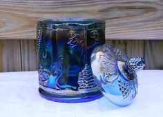 blue carnival glass bisquit canister