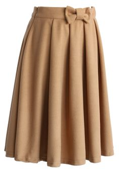 Bowknot Pleated Midi Skirt in Tan - Skirt - Bottoms - Retro, Indie and Unique Fashion