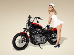 Marisa Miller with a Harley Coastguard Nightster
