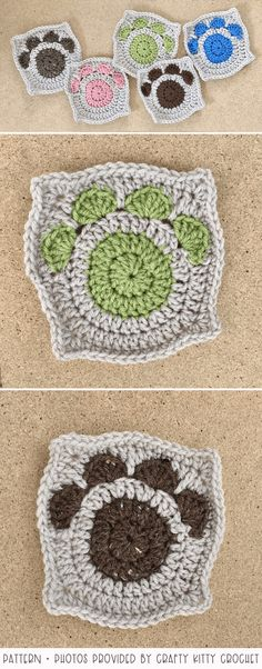 If you're a cat or dog lover, you'll love these creative paw print crochet patterns I'm sharing in this post. Most of the patterns are beginner-friendly. Crochet Tools, Crochet Gifts, Crochet Projects, Granny Square Crochet Pattern, Crochet Granny, Crochet Patterns, Cat Paw Print, Crochet Basics, Pawprint