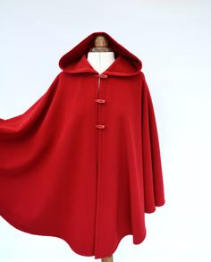 Red Wool Cashmere Cape Wool Hooded Cape Red Hooded Cloak