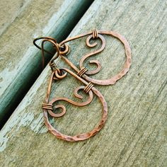 Catch a Wave - Antiqued Copper hammered wire wrapped hoop dangle earrings