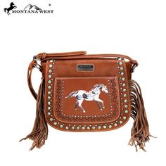 Montana West Handbag NEW Western Style  Cowgirl Purse Brown  fringe  #MontanaWest #MessengerCrossBody