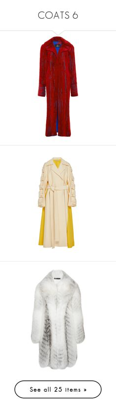 """""""COATS 6"""" by donnatellmeno ❤ liked on Polyvore featuring outerwear, coats, pinstripe coat, red mink coat, long mink fur coat, mink fur coat, mink coat, yellow, emilia wickstead and tie belt"""