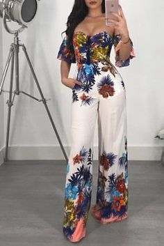 2018 Womens NEW Floral Off Shoulder Romper Party Clubwear Playsuit Ladies Summer Bowknot Short Sleeve Chiffony Jumpsuit Rompers Trend Fashion, Fashion Outfits, Womens Fashion, Fashion Clothes, Cheap Fashion, Fashion 2018, Fashion Jewelry, Long Jumpsuits, Jumpsuits For Women