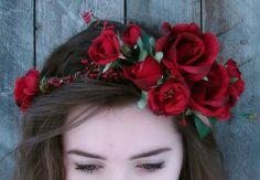 Red Rose Flower Crown Red Rose Floral Crown by FairyWinkDesigns, $55.00