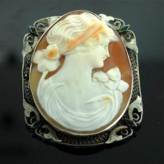 Edwardian Antique Cameo Pin Pendant - 14k White Gold and Carved Shell