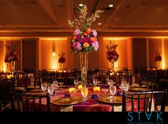 gorgeous centerpiece at Sheraton wedding reception + photographer