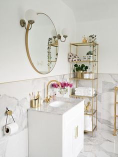 Nine long months later and we have finally completed our bathroom renovation. the marble and gold bathroom of my dreams! Restroom Decor, Small Bathroom Decor, Gold Bathroom, Bathroom Interior, Bathroom Decor, Gold Bathroom Decor, Bathroom Interior Design, Bathroom Design, Interior Blogger