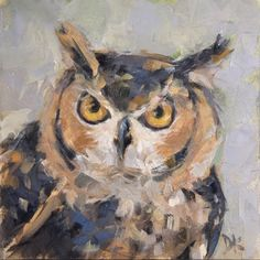 Whooo?? Are You? - Horned Owl painting by Deb Kirkeeide, painting by artist Deb Kirkeeide