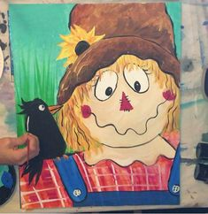 Learn how to paint a scarecrow with Tracie's acrylic canvas painting tutorial! Step by step instructions with detailed pictures. Halloween Canvas Paintings, Scarecrow Painting, Canvas Painting Designs, Fall Canvas Painting, Canvas Painting Tutorials, Halloween Painting, Acrylic Painting For Beginners, Autumn Painting, Step By Step Painting