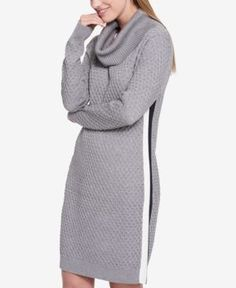 Tommy Hilfiger Cowl-Neck Sweater Dress, Created for Macy's - Gray XXL