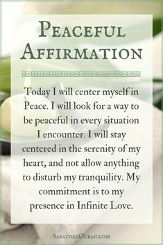 If you leave it up to the outside world to determine your daily experience you never know what you might get! Use this peaceful affirmation in the morning to help you get centered in Peace. Set your intention to stay grounded in your heart and maintain y Positive Affirmations Quotes, Morning Affirmations, Affirmation Quotes, Positive Quotes, Positive Life, Positive Thoughts, Mantra, Meditation Musik, Inner Peace