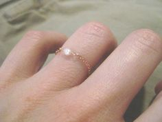Tiny Pearl and Rose Gold Chain Ring