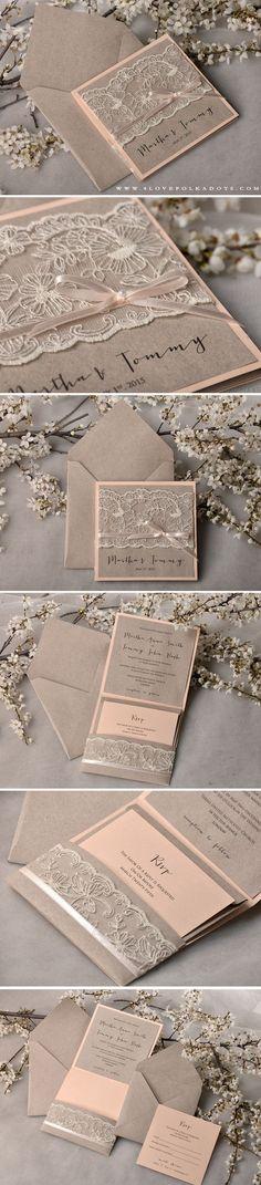 Peach & Eco Lace Wedding Invitations #handmade #summerwedding #weddingideas