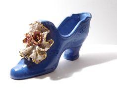 Vintage Victorian Shoe Planter Figurine, Gorgeous Porcelain Knickknack Miniature Knick Knack Shelf. $8.50, via Etsy.