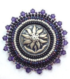 Beautiful Flower Button Pin by PerfectBeadedHarmony on Etsy, $20.00