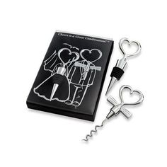 """Bottle stopper with a heart-shaped top and corkscrew with a heart-shaped top and """"tuxedo tie"""" are a great combination. This whimsical wine set is a unique and heartwarming way for your guests to remember your special day. Wine Opener Set, Bottle Stoppers, Bottle Opener, Wedding Supplies, Wedding Favors, Wedding Gifts, Wedding Stuff, Wedding Ideas, Wedding Planning"""