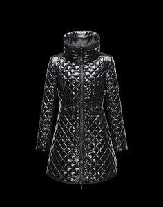günstige moncler jacken, outlet Moncler GRANDVAL Damen Mantel Für Sie Schwarz Polyamid 41456770TU sale
