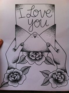 cute tattoo design. love letter