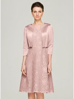 Vestidos princesa/ Formato A Decote redondo Coquetel Renda Vestido para a mãe da noiva com Bordado