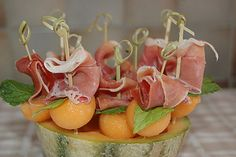 Cantelope and Proscuitto with Basil