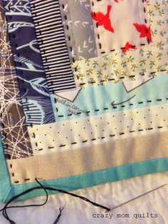 --stop stitching one round before outside, add binding, THEN add the last round of hand stitching. that makes the last line of quilting much easier to place. -- {crazy mom quilts}