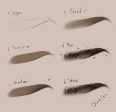 Digital Painting Tutorials, Digital Art Tutorial, Art Tutorials, Pencil Art Drawings, Art Drawings Sketches, Arte Digital Fantasy, How To Draw Eyebrows, Drawing Eyebrows, Drawing Faces