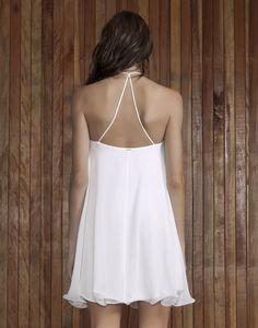 Vestido Fluido com Guipir Branco - Lez a Lez