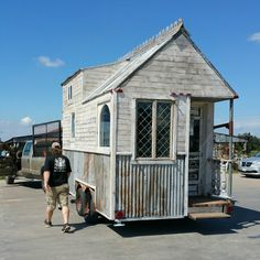 A tiny house made from reclaimed materials that give the home a cool, vintage look