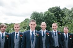 Blue and White Wedding Ideas - Navy Suit Tie Grey Waistcoat Groom Groomsmen Stylish Outdoor Tipi Wedding http://www.danhoughphoto.com/