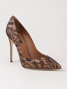 Dolce & Gabbana Scarpin De Couro Com Renda - Dolce&gabbana - Farfetch.com
