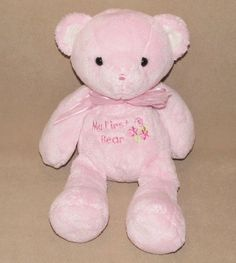 Carters Just One Year Pink My First Bear Bow Plush Teddy Rattle Flowers Baby #JustOneYear