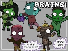 BRAINS! #Zombie clip art! :O  WARNiNG: could be more dangerous because they're cute and cuddly... #tpt #clipart #teacherspayteachers