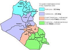 Occupation (stabilization) zones in Iraq, September 2003