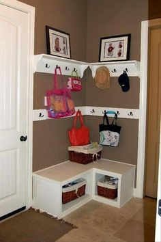 22 Mudroom Storage and Decorating Ideas Drop zone when you don't have space for a mud room @ DIY Home Design Diy Casa, Ideas Para Organizar, Design Case, Home Organization, Organizing Ideas, Organization Station, Organising, Home Projects, Small Spaces