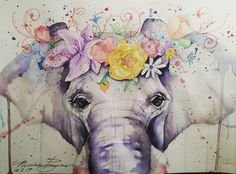 All these watercolour animals must be girls coz I cant see boy ones wearing flower crowns !