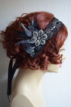 Ready to ship,Black Beaded Gatsby Headpiece,Flapper headpiece, Bandeau,Black feathers,1920s headpiece,Black headpiece