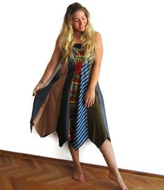 Vintage ties Silk Ties Elastic Waist Long Skirts for Women