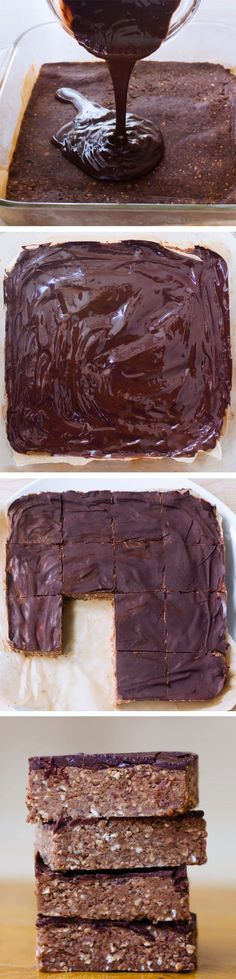 Chocolate Brownie Breakfast Bars - Ingredients: 1 cup rolled oats, 3 tbsp cocoa powder...