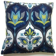 Possible new living room color scheme? Two navy blue, turquoise, chartreuse, gray, grey, white, pillow covers, handmade, decorative damask design. 16 inch Cotton - $30 a pair