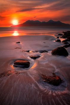 ~~Sunset over the Isle of Rhum, Western Scotland ~ viewed from the Isle of Eigg, across Laig Bay to the Cuillin of Rhum by photosecosse /barbara jones~~