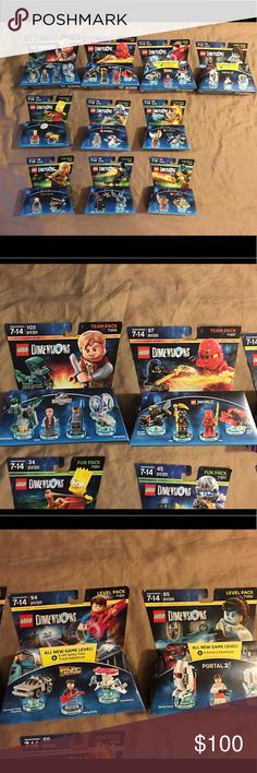 Lot of 10 Lego dimensions level fun & team packs Thank you for viewing my listing, for sale is a giant lot of 10, Lego dimensions, brand-new in the package, level packs, team packs, and fun packs If you have any questions or would like additional photos please feel free to ask. Team packs: Jurassic World 71205 Ninjago 71207  Level packs: Portal 2 - 71203 Back to the future 71201  Fun packs: Chima 71232 Lord of the rings 71219 Wizard of Oz 71221 Bart Simpson 71211 Chima 71223 Ninjago 71217…