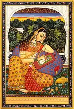 """Mughal Painting: """"Young Princess Portraying her Lover"""" byKailash Raj"""