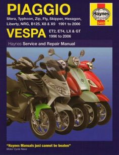 Sports Piaggio & Vespa Haynes Repair Manual by Haynes. $41.99. Piaggio and Vespa Haynes Repair Manual for Piaggio Sfera, Typhoon, Zip, Fly, Skipper, Hexagon, Liberty, B125, X8/X9 Scooters from 1991 through 2006 and Vespa ET2, ET4, LX & GT Scooters from 1996 through 2006. With a Haynes manual, you can do it yourselfÃ?¢ââ??¬Ã'¦from simple maintenance to basic repairs. Haynes writes every book based on a complete teardown of the motorcycle. We learn the...